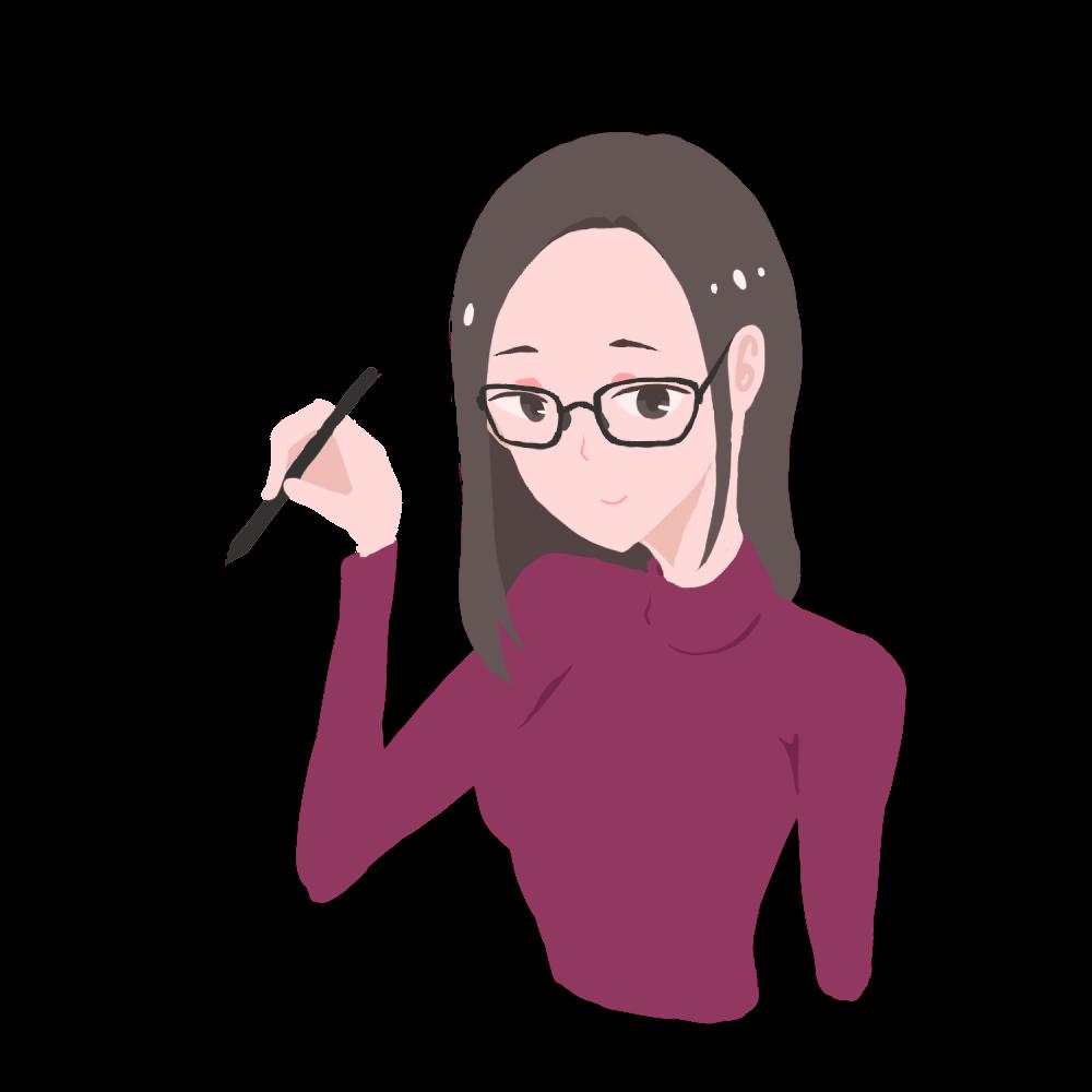 ペンを構える眼鏡の女性