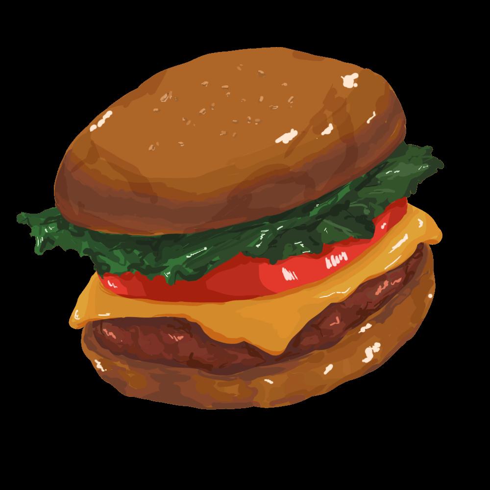 ハンバーガーのフリーイラスト素材