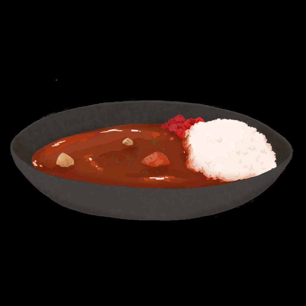 黒いお皿のカレー
