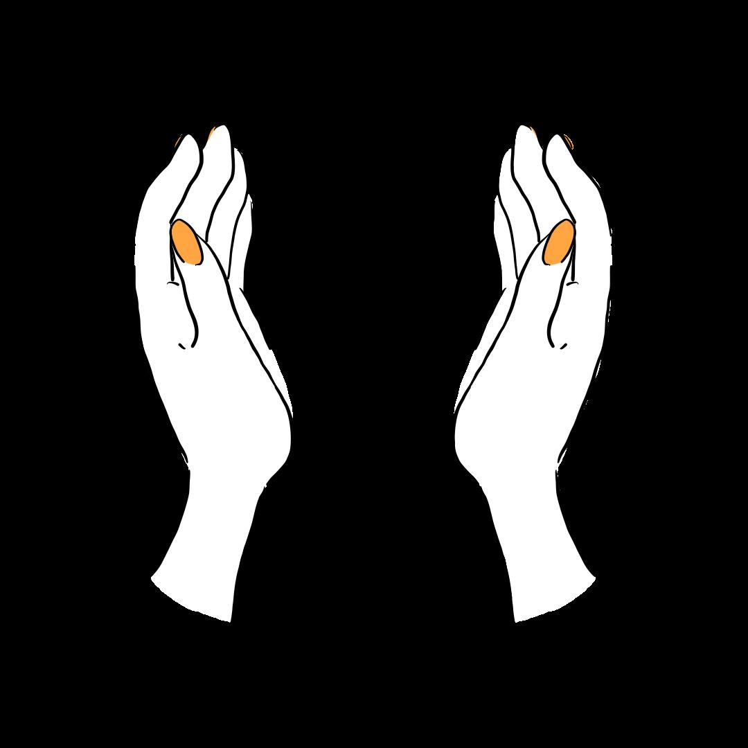 包み込む手